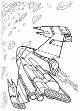 Coloring Ship Space Battle Wars Pages Futuristic sketch template