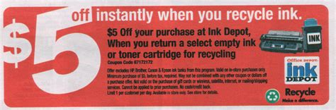 Will Staples Take Office Depot Coupons by 187 Office Depot Get 5 For Recycling Ink Cartridges
