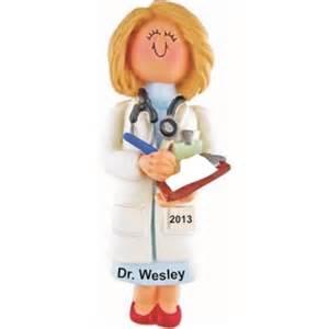 doctor female blonde hair christmas ornament