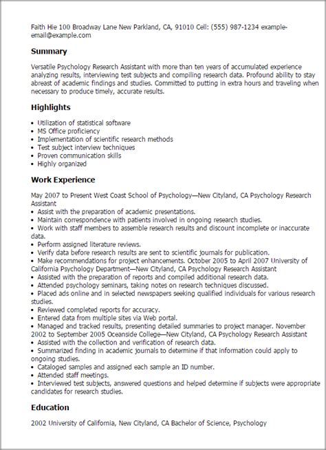 Psychology Research Assistant Resume Template — Best