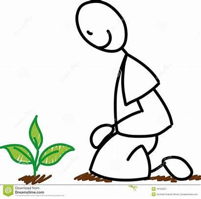 Stick Figure Gardener Planting Garden Plant Kneeling