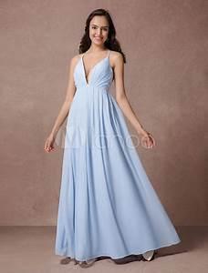 Robe Bleu Demoiselle D Honneur : robe l gante demoiselle d 39 honneur a ligne en chiffon bleu pastel pliss col v dos d collet ~ Dallasstarsshop.com Idées de Décoration