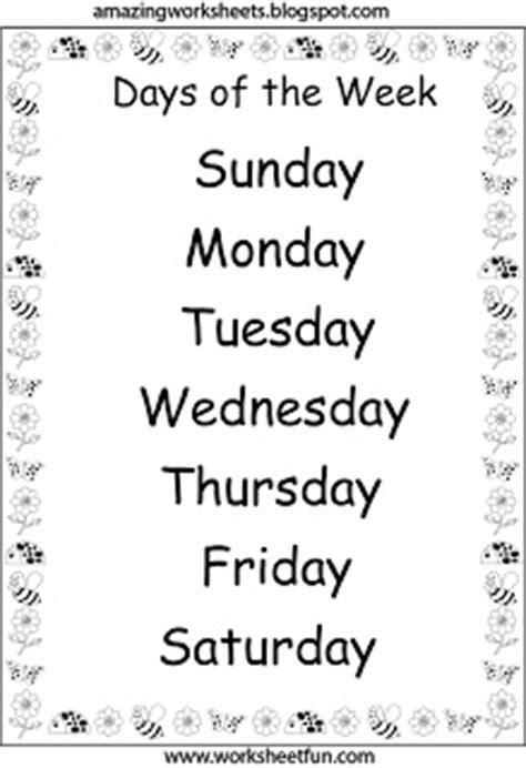days   week worksheets englisch grundschule schule