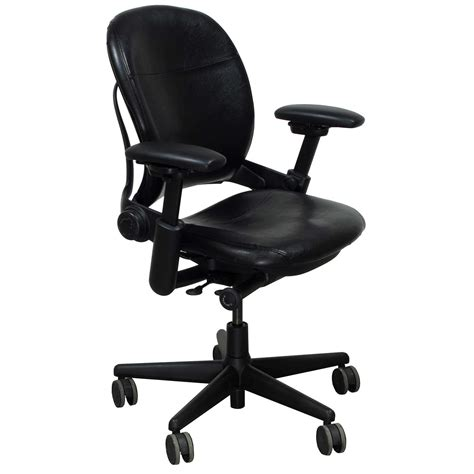 steelcase leap used leather task chair black national
