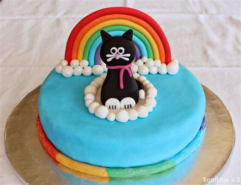 Rainbow Birthday Cake Cat