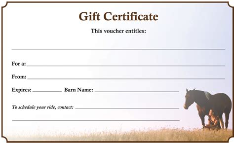 downloadable gift certificate   resource  horse