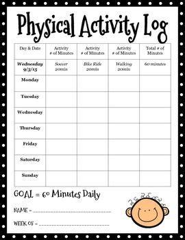 physical activity log classroom physical education