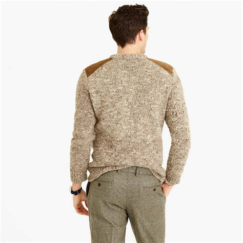 patch sweater j crew wool alpaca shoulder patch sweater in brown for