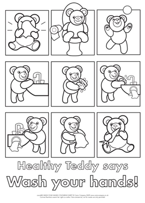 handwashing colouring activity sheet  healthy