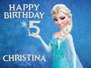 Disney FROZEN ELSA Happy Birthday Cake Topper Design ...