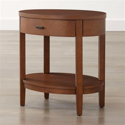 arch tea oval nightstand  drawer crate  barrel