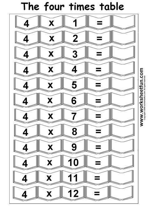 4 times table printable worksheets 4 times table