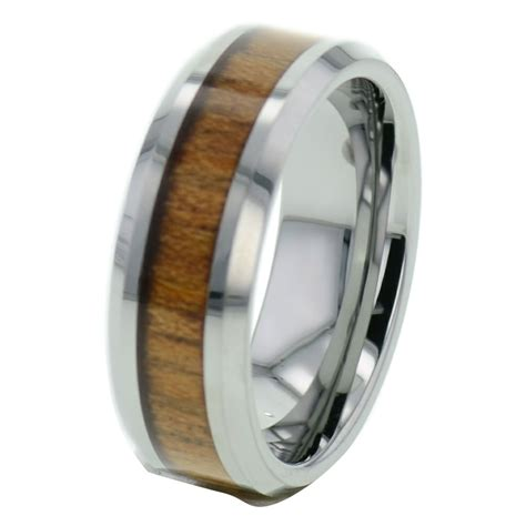 Wood Inlay Tungsten Band Duo Step Edge Women's Men's