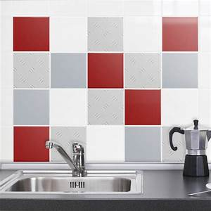 best cuisine gris et blanc rouge ideas design trends With stickers pour carrelage mural cuisine