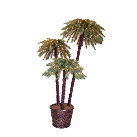 shop 6 ft indoor outdoor palm pre lit artificial christmas
