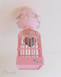 Luminaire Chambre Fille : lustre suspension fille cage petit c ur rose et gris ~ Preciouscoupons.com Idées de Décoration