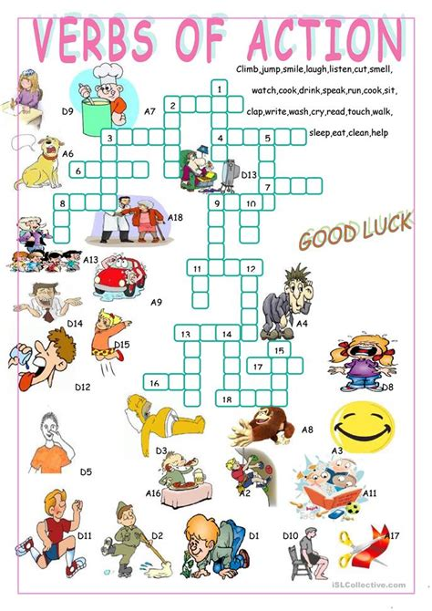 Verbs Of Actioncrossword Puzzle Worksheet  Free Esl Printable Worksheets Made By Teachers