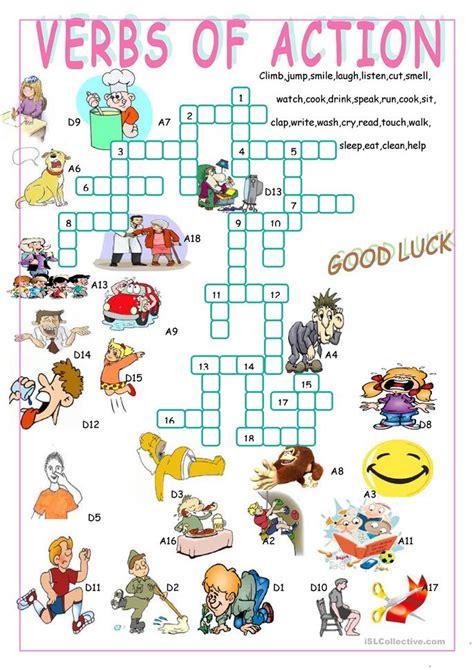 verbs  actioncrossword puzzle worksheet  esl