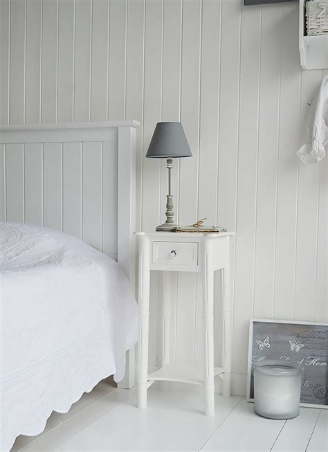 Bed With White Nightstands by New White Beside Table With Silver Handle A