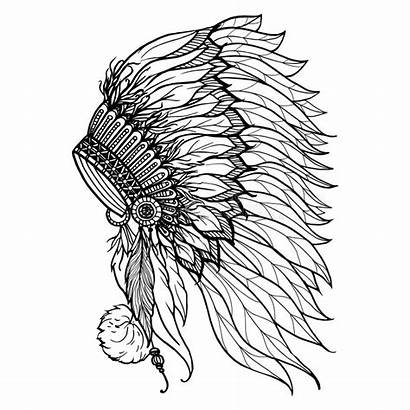 Headdress Indian Chief Doodle Illustration Native American