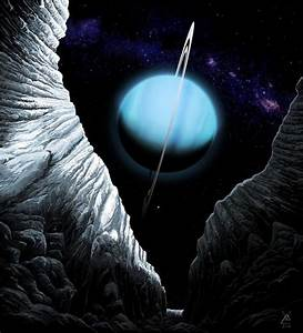 #space #art: #uranus seen from an icy chasm of its #moon # ...