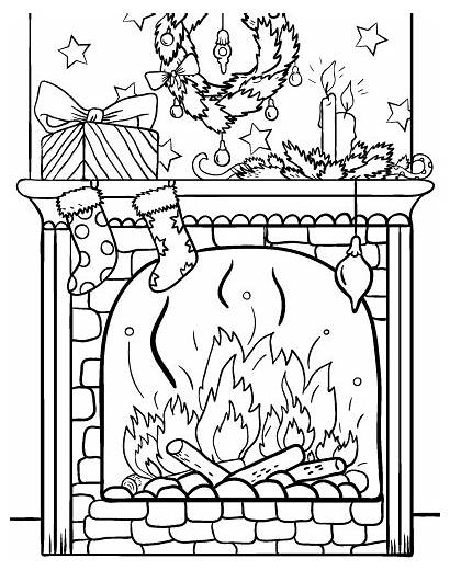 Fireplace Coloring Christmas Pages Printable Sheets Holiday