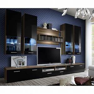 Meuble Tv Mural Pas Cher : meuble tv mural design dorade 300cm noir brun ~ Dailycaller-alerts.com Idées de Décoration
