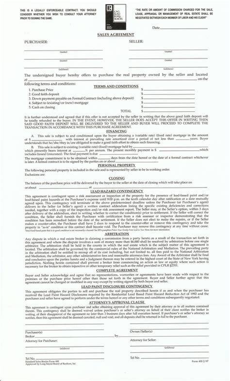 Nyc Lead Paint Disclosure Form by Binder Sales Agreement Representing Buyers And Sellers