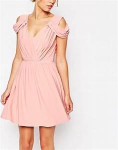 lyst asos wedding drape cold shoulder mini dress in pink With cold shoulder dresses for wedding