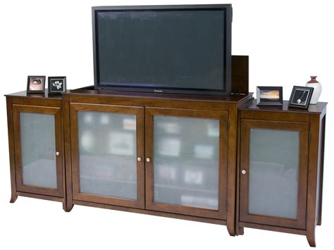 tv lift cabinet design brookside cherry tv lift cabinet with sides for flat