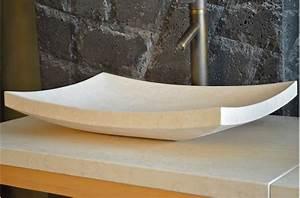 Vasque à Poser Design : vasque en pierre poser esna 60x40cm design en marbre ~ Edinachiropracticcenter.com Idées de Décoration