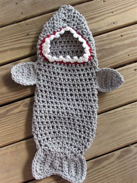 hobby  crochet newborn baby shark hooded cocoon