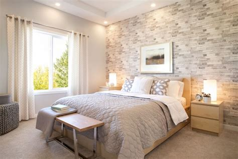a master bedroom a tile feature wall neutral warm