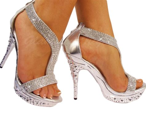Silver Diamante Encrusted Sandal, High Heel, Platform