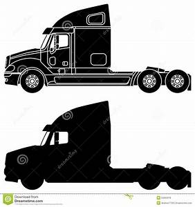 Silhouette Of A Truck Freightliner Columbia. Stock Photo ...
