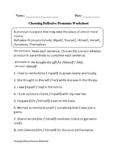 choosing reflexive pronouns worksheet part 1 pronoun fun pinterest pronoun worksheets