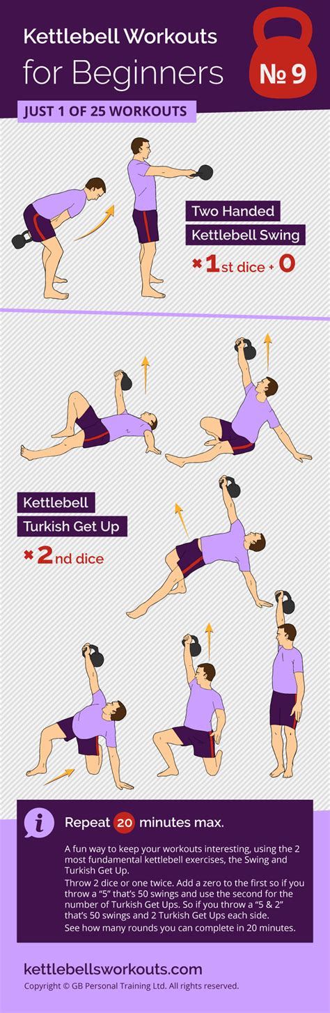 kettlebell workout dice workouts pair beginners exercises kettlebellsworkouts beginner swing training yoga routines