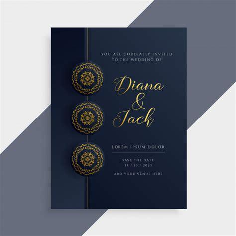 Luxury wedding invitation card design in dark and gold