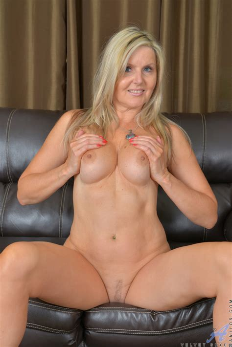 Older Blonde Milf Sheds Sheer Lingerie And Lace Panties To