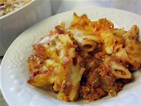 baked mostaccioli with sauce simple baked mostaccioli recipe food com