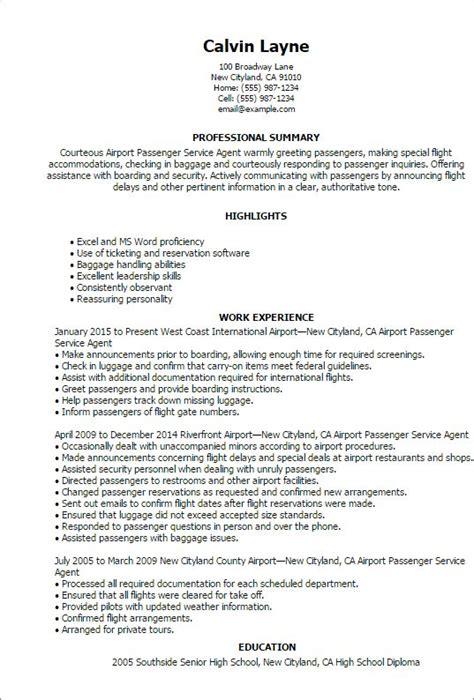 airport passenger service agent resume templates