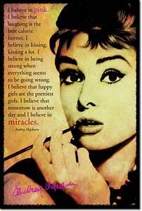 Audrey Hepburn Poster : audrey hepburn art photo print poster i believe in pink quote ebay ~ Eleganceandgraceweddings.com Haus und Dekorationen