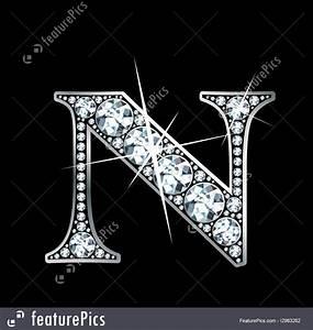 """Diamond Letter """"N"""" Illustration"""