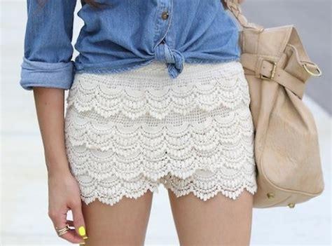 Beige Scalloped Crochet Lace Shorts from u2666STREETCARPETu2666 on Storenvy