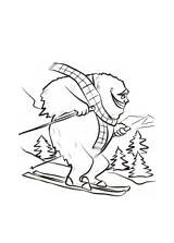 Coloring Bigfoot Yeti Slope Ski Pages sketch template