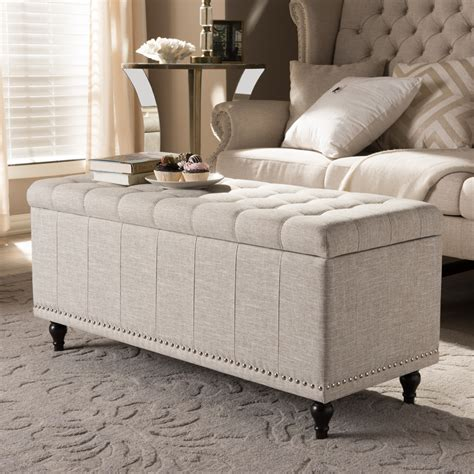 Upholstered Bench Living Room by Baxton Studio Modern Classic Beige Fabric