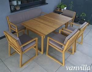 Gartenmöbel Set Runder Tisch : vanvilla gartenm bel set holz 1 tisch 1 bank 4 sessel set5 auflage braun ~ Bigdaddyawards.com Haus und Dekorationen