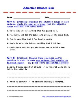 dependent clauses quiz  worksheet adjective clauses