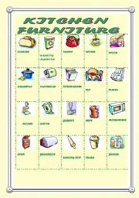 kitchen furniture picture dictionary esl worksheet