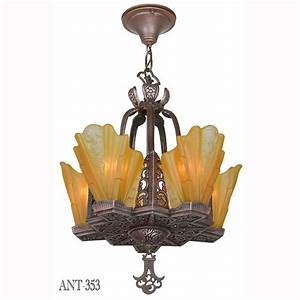 Art deco slip shade copper bronze finish antique s